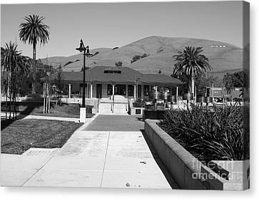 Niles Depot Museum Canvas Print - Historic Niles District In California Near Fremont.niles Depot Museum And Town Plaza.7d10697.bw by Wingsdomain Art and Photography