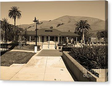 Niles Depot Museum Canvas Print - Historic Niles District In California Near Fremont.niles Depot Museum And Town Plaza.7d10697.sepia by Wingsdomain Art and Photography