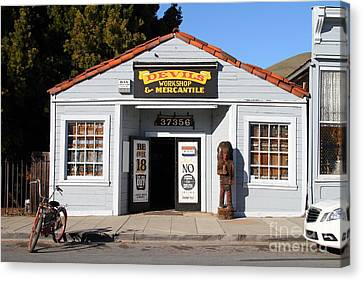 Historic Niles District In California.motorized Bike Outside Devils Workshop And Mercantile.7d12727 Canvas Print by Wingsdomain Art and Photography