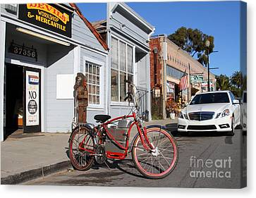 Historic Niles District In California.motorized Bike Outside Devils Workshop And Mercantile.7d12729 Canvas Print by Wingsdomain Art and Photography