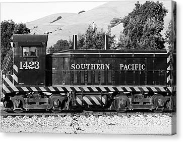 Niles Depot Museum Canvas Print - Historic Niles Trains In California . Southern Pacific Locomotive . 7d10829 . Bw by Wingsdomain Art and Photography