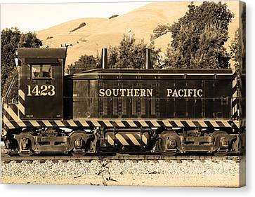 Niles Depot Museum Canvas Print - Historic Niles Trains In California . Southern Pacific Locomotive . 7d10829 . Sepia by Wingsdomain Art and Photography