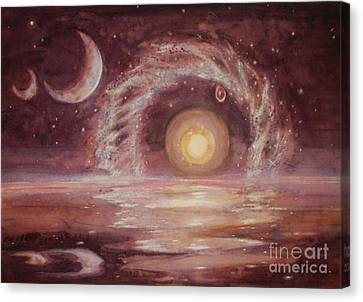 Hoag's Object And Two Moons Over Ocean Canvas Print