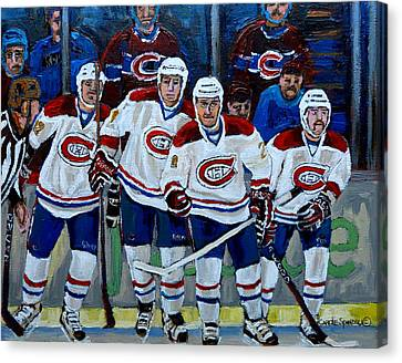 Hockey Art At Bell Center Montreal Canvas Print by Carole Spandau