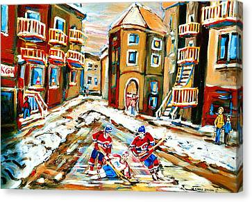 Hockey Art Hockey Game Plateau Montreal Street Scene Canvas Print by Carole Spandau