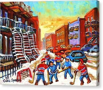 Hockey Art Kids Playing Street Hockey Montreal City Scene Canvas Print by Carole Spandau