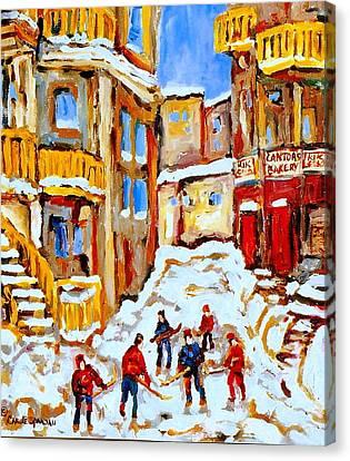 Hockey Art Montreal City Streets Boys Playing Hockey Canvas Print by Carole Spandau