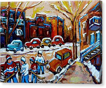 Hockey Art Montreal Staircases In Winter Canvas Print by Carole Spandau