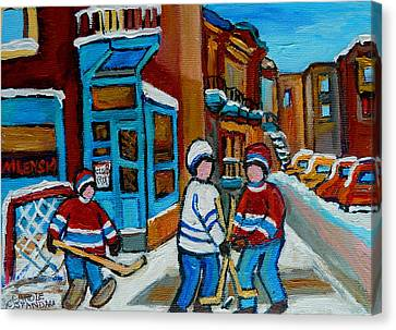 Hockey Game Corner Clark And Fairmount Wilenskys Paintings Canvas Print by Carole Spandau