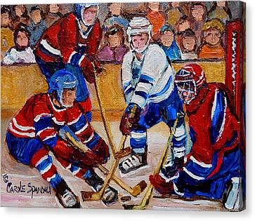 Hockey Game Scoring The Goal Canvas Print by Carole Spandau