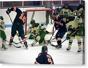 Hockey Two On Four Canvas Print by Thomas Woolworth