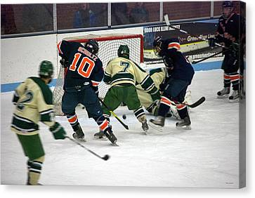 Hockey Two On Two Canvas Print by Thomas Woolworth