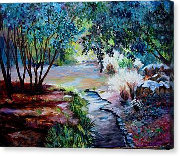 Canvas Print featuring the painting Hodges Garden Stream by AnnE Dentler