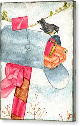 Canvas Print featuring the painting Holiday Mail by Paula Ayers