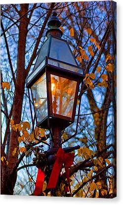 Holiday Streetlamp Canvas Print by Joann Vitali