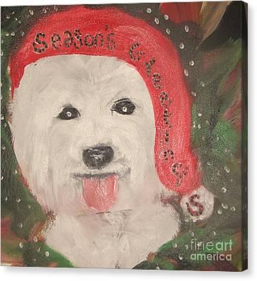 Holiday Westie Canvas Print by Rachel Carmichael