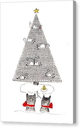 Canvas Print featuring the drawing Holiday Wishes Do Come True by Lou Belcher