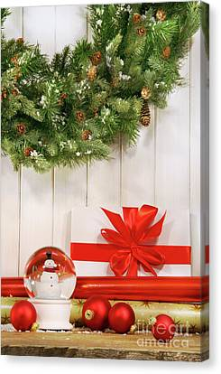 Wrapping Canvas Print - Holiday Wreath With Snow Globe  by Sandra Cunningham