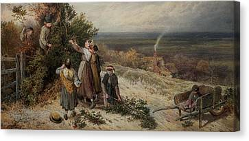 Holly Gatherers Canvas Print by Myles Birket Foster