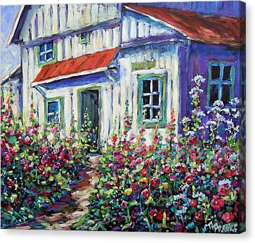 Holly Hocks And Wild Flowers By Prankearts Canvas Print by Richard T Pranke