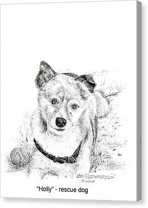 Canvas Print featuring the drawing Holly Rescue Dog by Jim Hubbard