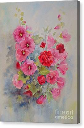 Hollyhocks And Red Roses Canvas Print by Beatrice Cloake
