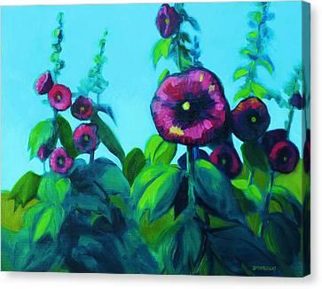 Hollyhocks Canvas Print by Peggy Wrobleski