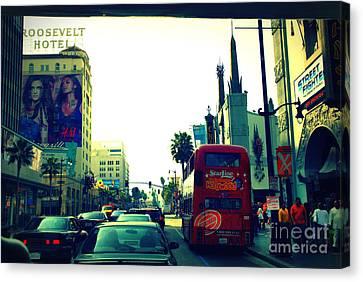 Hollywood Boulevard In La Canvas Print by Susanne Van Hulst