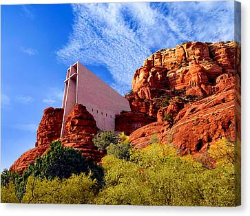 Holy Cross Or Red Rock Chapel Canvas Print by Bob and Nadine Johnston