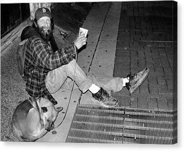 Grate Canvas Print - Homeless With Faithful Companion by Kristin Elmquist