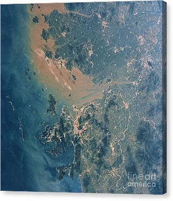 Hong Kong And Guangzhou Seen Canvas Print by NASA / Science Source