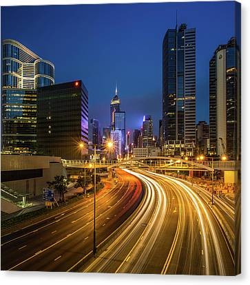 Long Street Canvas Print - Hong Kong City Center At Night by Coolbiere Photograph