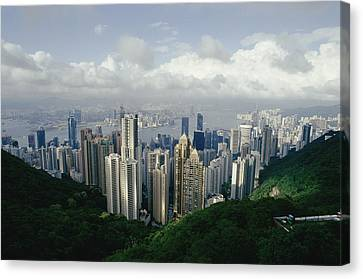 Hong Kong Island And The Bay Canvas Print by Jason Edwards