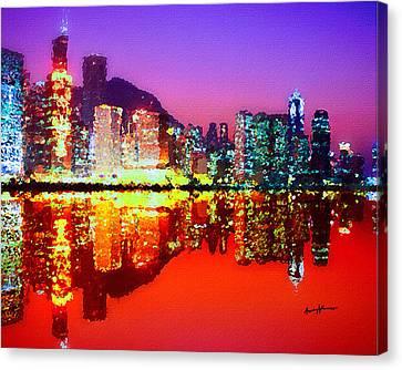 Hong Kong Canvas Print - Hong Kong Lit Up by Anthony Caruso