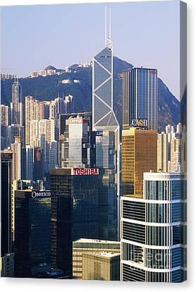 Hong Kong Skyline Looking Towards Victoria Peak Canvas Print by Jeremy Woodhouse
