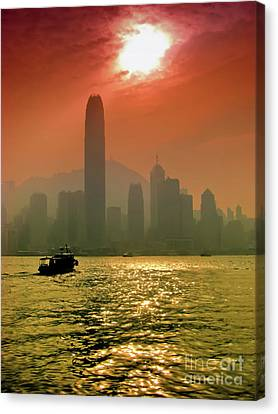 Hong Kong Sunset Canvas Print by Bibhash Chaudhuri