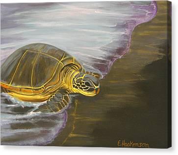 Honu On Black Sand Beach Canvas Print by Elaine Haakenson