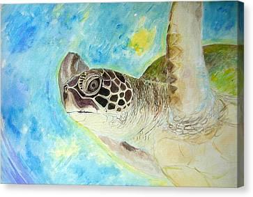 Honu Swimming Canvas Print by Tamara Tavernier