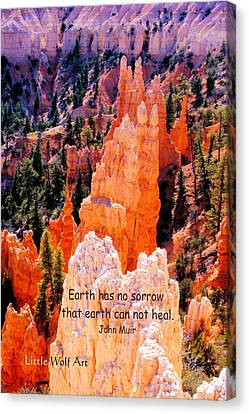 Hoodoos Of Farieland Canyon With John Muir Quote Canvas Print