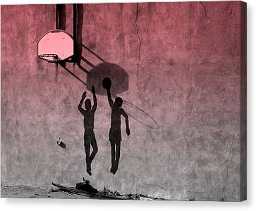 Canvas Print featuring the photograph Hoop Boys by Clarice  Lakota
