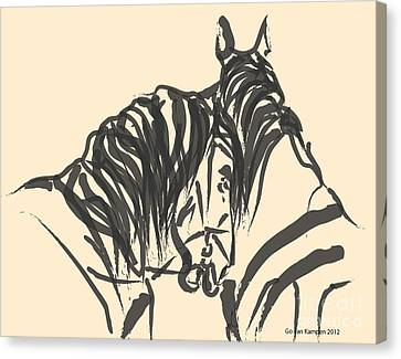 Canvas Print featuring the painting Horse - Together 9 by Go Van Kampen
