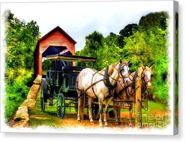 Horse And Buggy In Front Of Covered Bridge Canvas Print by Dan Friend