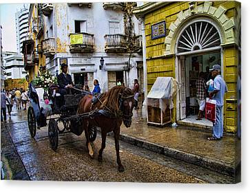 Cartagena Canvas Print - Horse And Buggy In Old Cartagena Colombia by David Smith