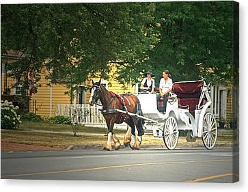 Horse And Carriage Canvas Print by Cyryn Fyrcyd