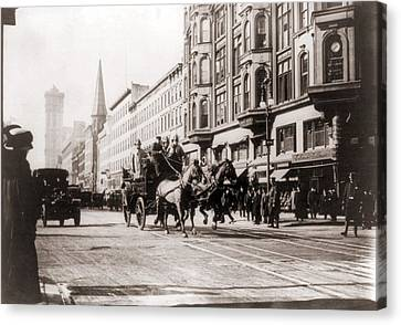 Horse-drawn Fire Engines In Street Canvas Print by Everett