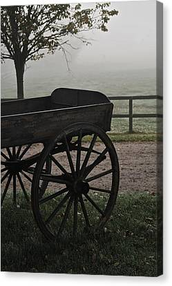 Horse Drawn In The Mist Canvas Print by Odd Jeppesen