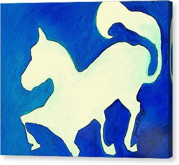 Horse In Blue And White Canvas Print by Janel Bragg