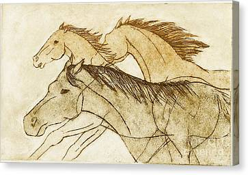 Canvas Print featuring the drawing Horse Sketch by Nareeta Martin