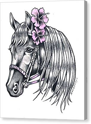 Horse With Hibiscus Canvas Print