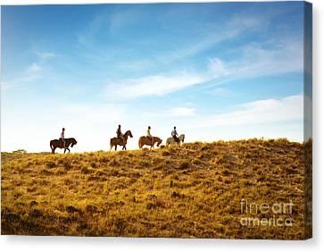 Horseback Riding Canvas Print by Carlos Caetano